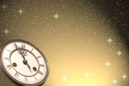 time of the year: New Year�s background with vintage clock Stock Photo