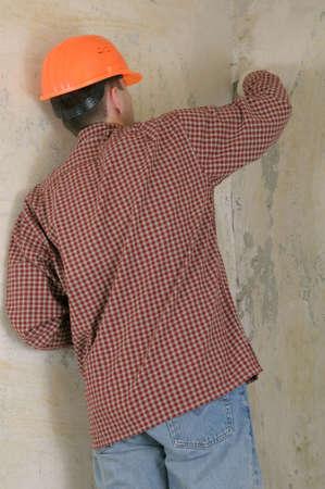 tablaroca: drywall contratista grabar Foto de archivo
