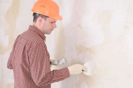 taping: drywall taping contractor Stock Photo