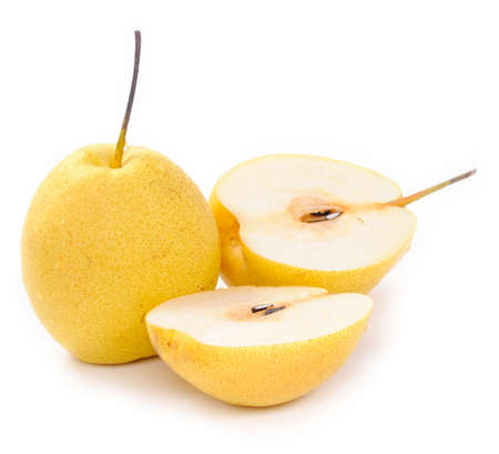 Two sweet pears  on white background photo
