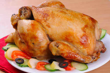 fat bird: grilled turkey with vegetables Stock Photo