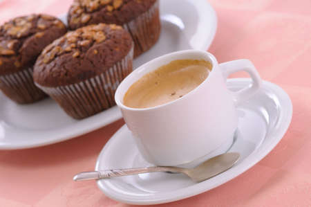 chocolate chip muffin and cup of coffee Stock Photo - 3830840