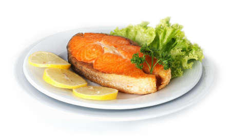 plated: Roasted Salmon plated with lemon