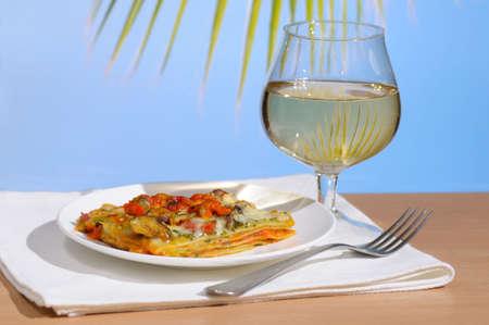 lasagna: Lasagna al horno con vino
