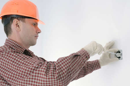 man installing electrical box Stock Photo - 3853622