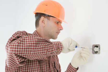 man installing electrical box Stock Photo - 3853628