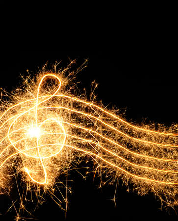 Sparkler music wave isolated on black background