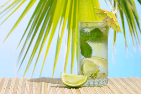 Glass of Mojito cocktail with umbrella and a slice of lime against palm leaf