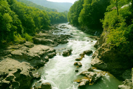 rapid: Rapid mountain river Stock Photo