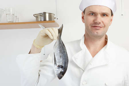 gilthead bream: Chef holding raw gilt-head bream