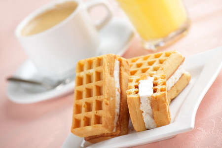 Breakfast with wafers, coffee, and juice Stock Photo - 4595214