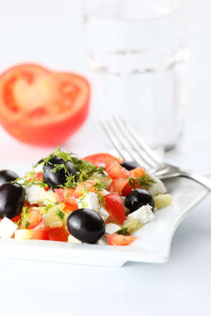 Greek salad on white background Stock Photo - 4794162