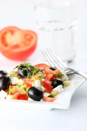 Greek salad on white background Stock Photo - 4794162