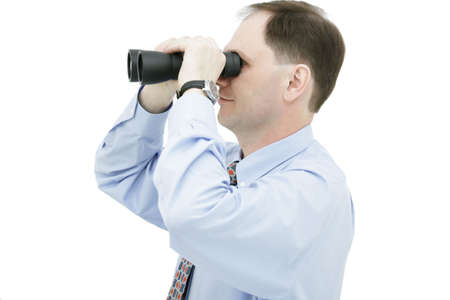 Businessman with binoculars isolated on white background Stock Photo - 4901614