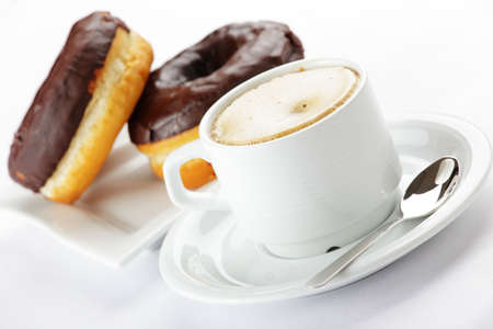 doughnut: Chocolate donuts with coffee