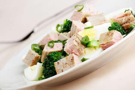 Salad with tuna, boiled eggs, broccoli, and onion Stock Photo - 5124143