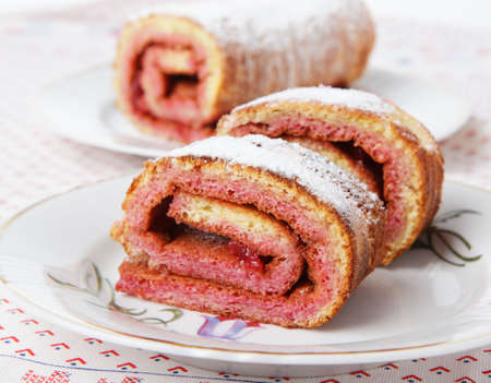 swiss roll: swiss roll with sour cherry jam Stock Photo