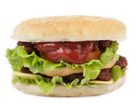Double cheeseburger isolated on white background photo