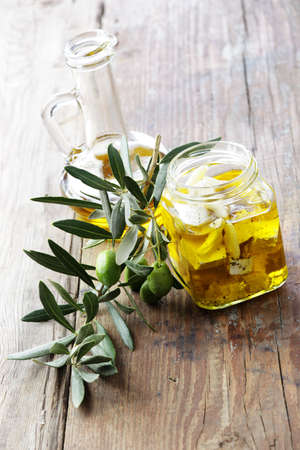 sift: Feta cheese and olive branch Stock Photo