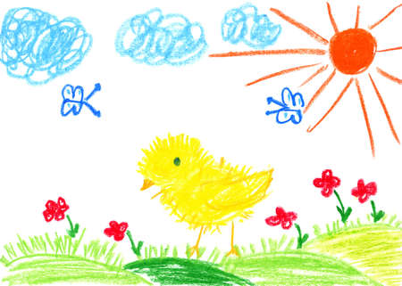 kids drawing: Easter kids drawing, chicken on green meadow Stock Photo