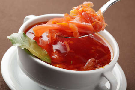 bay leaf: Borshch, russian beetroot soup with bay leaf Stock Photo