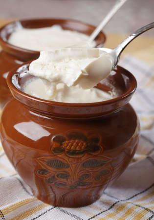 fermented: Homemade fermented baked milk in a pot