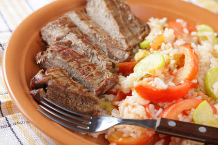 Sliced beef steak with rice and vegetables Stock Photo - 8158533