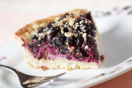 bilberry: Slice of bilberry pie with walnuts on a plate