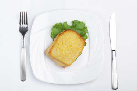Croque-monsieur sandwich on white plate. Top view photo