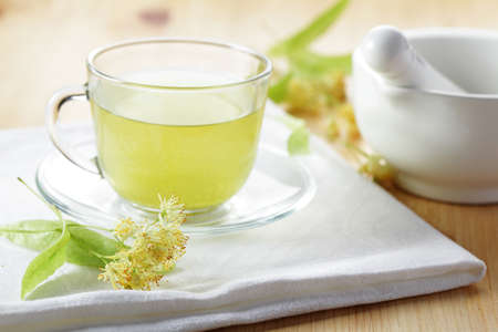 Linden tea in a glass cup Stock Photo - 8227005