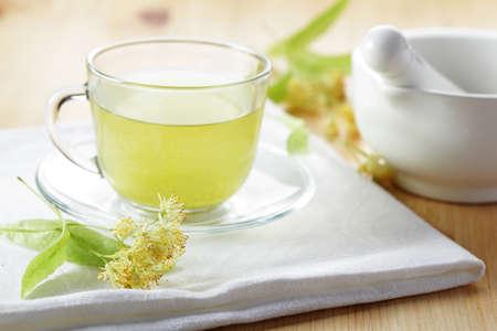 linden tea: Linden tea in a glass cup Stock Photo