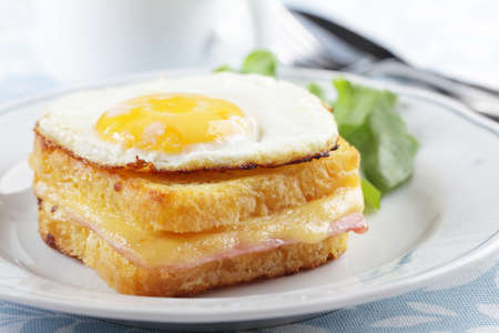 Croque madame sandwich closeup Stock Photo