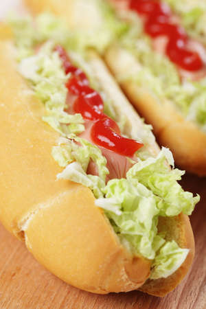 Two hot dogs with catchup and Peking cabbage closeup Stock Photo - 8549866