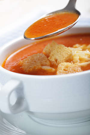 Tomato soup with croutons and shredded cheese Stock Photo - 8571886