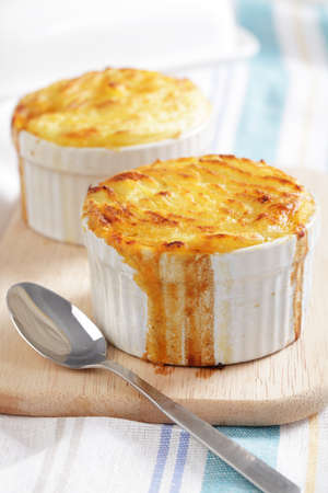 Cottage pie in the small stoneware bakers photo