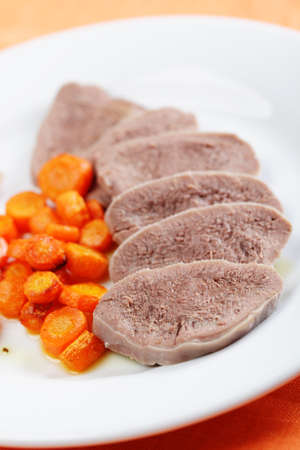 Boiled beef tongue with roasted carrot Stock Photo - 9214891