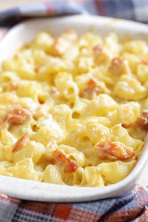 macaroni and cheese: Mac cheese with chicken Stock Photo