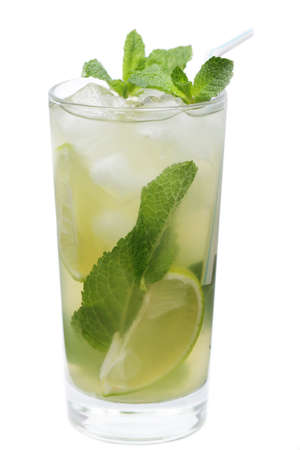 highball: Mojito cocktail in the highball glass isolated on white background Stock Photo