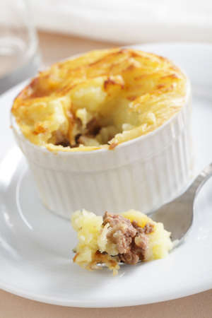 minced pie: Cottage pie in the small stoneware baker