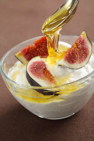 strained: Strained yogurt with sliced figs and honey