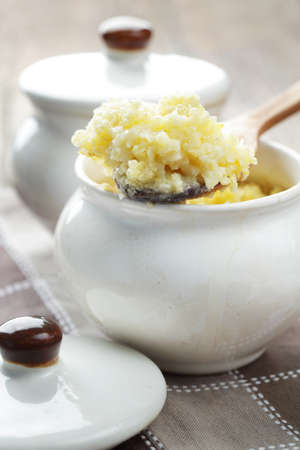 Millet porridge in the pot closeup