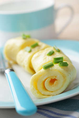 Breakfast with omelet roll on the plate Stock Photo - 9493337