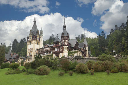 gothic castle: Pelesh castle in the Carpathian Mountains, Transylvania, Romania