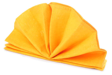 Napkin folded as a standing fan isolated on white background Stock Photo