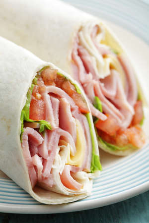 ham and cheese: Tortilla roll-ups with ham, cheese, and vegetables