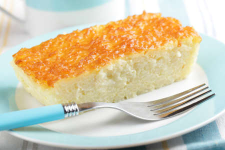 Slice of rice pudding on the plate closeup Stock Photo - 9647864