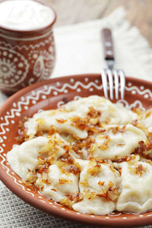 Dumplings with mashed potato and roasted onion on the rustic plate Stock Photo - 9647995