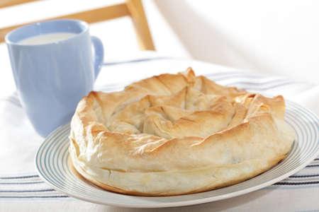 fillo: Banitsa, the traditional Bulgarian dish on the rustic table