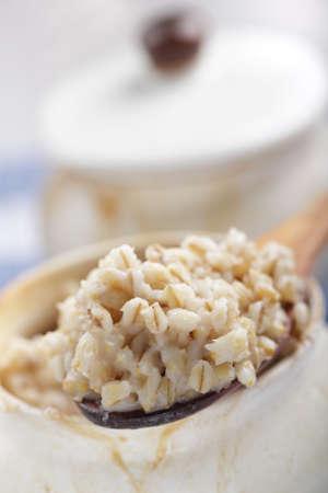 Pearl barley porridge prepared in the pot Stock Photo