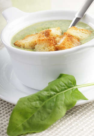 croutons: Spinach soup with croutons in the white pot